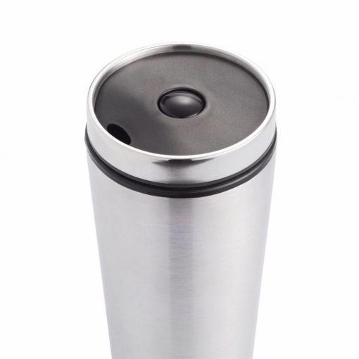 Cana de calatorie 350 ml, fara scurgeri, Everestus, LK, pp, otel inoxidabil, argintiu, saculet de calatorie inclus