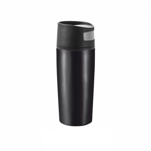 Cana de calatorie auto 300 ml, fara scurgeri, XD by AleXer, AO, pp, otel inoxidabil, negru, breloc inclus din piele ecologica