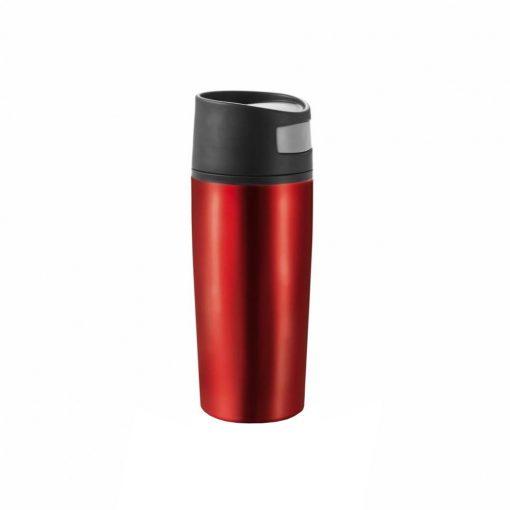 Cana de calatorie auto 300 ml, fara scurgeri, XD by AleXer, AO, pp, otel inoxidabil, rosu, breloc inclus din piele ecologica