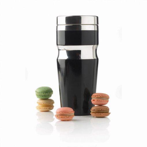 Cana de calatorie 350 ml, XD by AleXer, CR, otel inoxidabil, pp, negru, breloc inclus din piele ecologica si metal