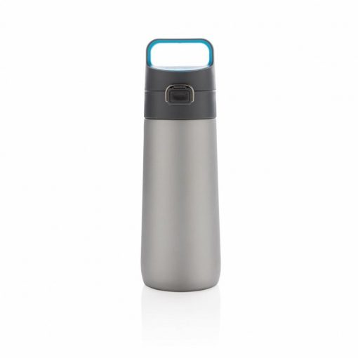 Sticla de apa 450 ml, cu maner, fara scurgeri, XD by AleXer, HE, otel inoxidabil, pp, gri, breloc inclus din piele ecologica