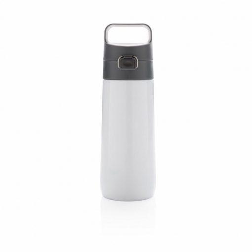 Sticla de apa 450 ml, cu maner, fara scurgeri, XD by AleXer, HE, otel inoxidabil, pp, alb, breloc inclus din piele ecologica