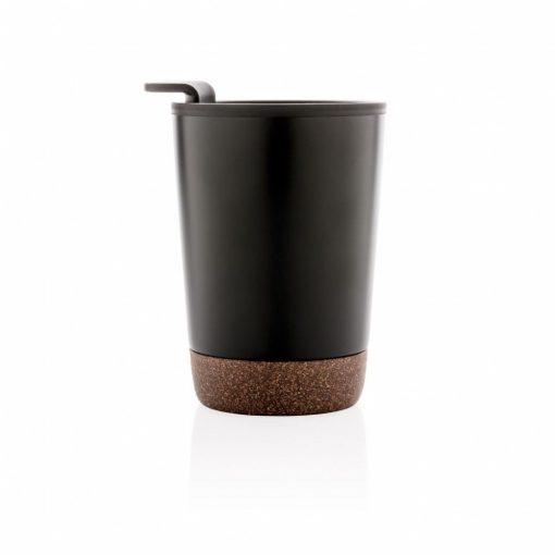 Cana cafea cu baza din pluta 300 ml, perete dublu, Everestus, CK, otel inoxidabil, pp, negru, saculet de calatorie inclus