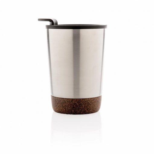 Cana cafea cu baza din pluta 300 ml, perete dublu, Everestus, CK, otel inoxidabil, pp, argintiu, saculet de calatorie inclus