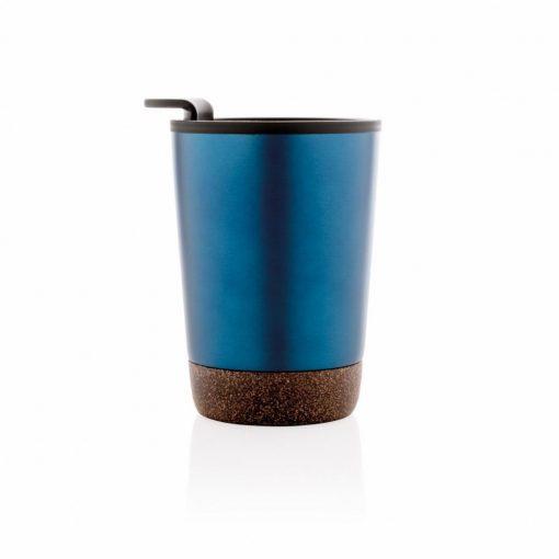Cana cafea cu baza din pluta 300 ml, perete dublu, Everestus, CK, otel inoxidabil, pp, albastru, saculet de calatorie inclus