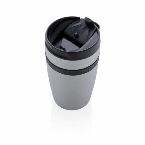 Cana termoizolanta cafea 280 ml, perete dublu, XD by AleXer, SA, otel inox, pp, argintiu, breloc inclus din piele ecologica