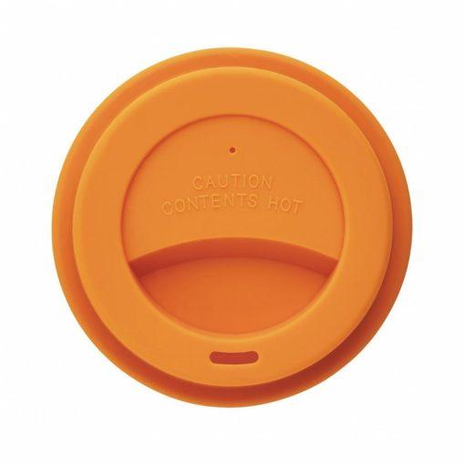 Cana de cafea 350 ml, ecologica, Everestus, EA, pla, silicon, portocaliu, saculet de calatorie inclus