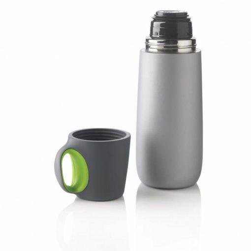 Termos 600 ml, perete dublu, cu maner, XD by AleXer, BP, otel inoxidabil, pp, verde, breloc inclus din piele ecologica si metal