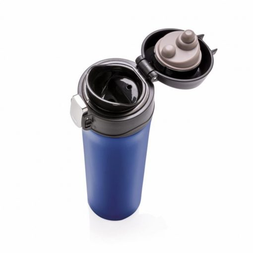 Termos 450 ml, cu inchidere usoara, Everestus, EY, otel inoxidabil, pp, albastru, saculet de calatorie inclus