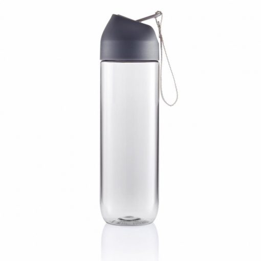 Sticla de apa 450 ml, maner curelusa, XD by AleXer, NA, tritan, pp, antracit, breloc inclus din piele ecologica si metal