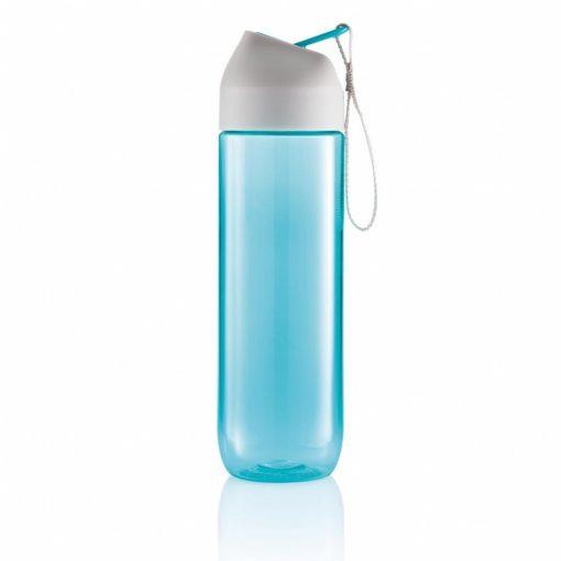 Sticla de apa 450 ml, maner curelusa, XD by AleXer, NA, tritan, pp, turcoaz, breloc inclus din piele ecologica si metal