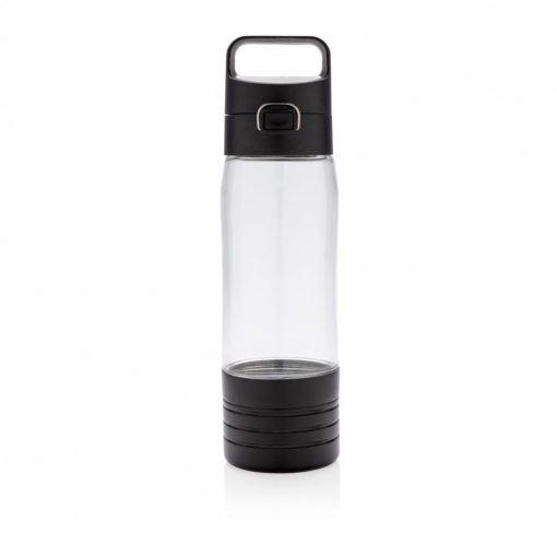 Sticla de apa 600 ml cu maner si blocaj, casti in-ear wireless, XD by AleXer, HE, tritan, abs, transparent, breloc inclus