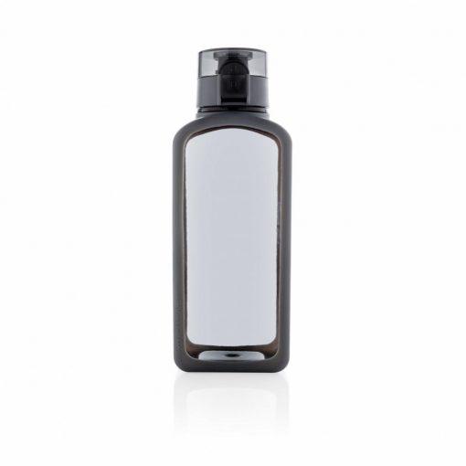 Sticla de apa 600 ml patrata, fara scurgeri, XD by AleXer, SD, tritan, silicon, negru, breloc inclus din piele ecologica
