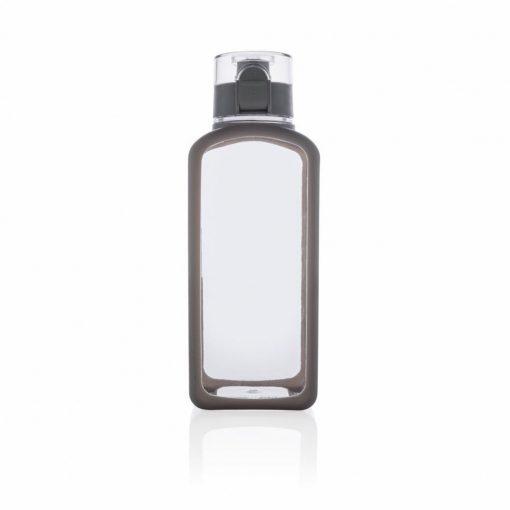 Sticla de apa 600 ml patrata, fara scurgeri, XD by AleXer, SD, tritan, silicon, alb, breloc inclus din piele ecologica si metal