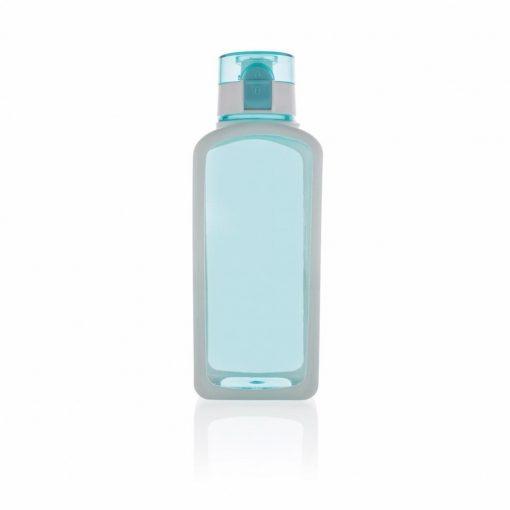 Sticla de apa 600 ml patrata, fara scurgeri, XD by AleXer, SD, tritan, silicon, turcoaz, breloc inclus din piele ecologica