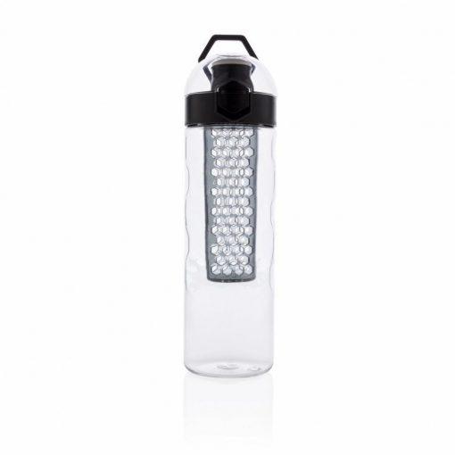 Sticla de apa 700 ml cu infuzor in forma de fagure, XD by AleXer, HB, tritan, silicon, negru, breloc inclus din piele ecologica