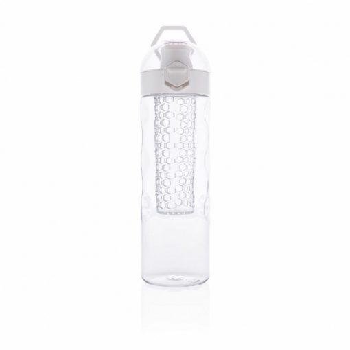 Sticla de apa 700 ml cu infuzor in forma de fagure, XD by AleXer, HB, tritan, silicon, alb, breloc inclus din piele ecologica