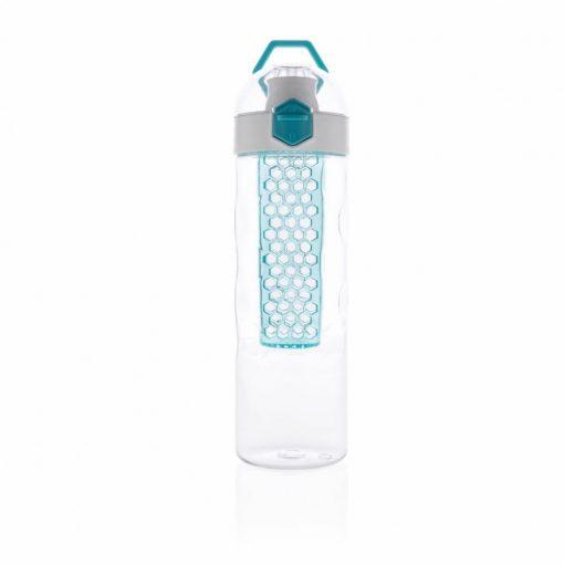 Sticla de apa 700 ml, infuzor in forma de fagure, XD by AleXer, HB, tritan, silicon, turcoaz, breloc inclus din piele ecologica