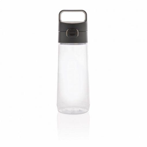 Sticla de apa 600 ml, cu maner, fara scurgeri, XD by AleXer, HE, tritan, pp, transparent, breloc inclus din piele ecologica