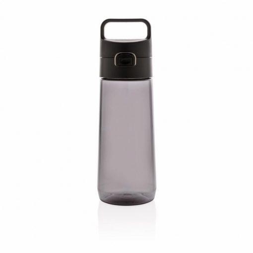 Sticla de apa 600 ml, cu maner, fara scurgeri, XD by AleXer, HE, tritan, pp, negru, breloc inclus din piele ecologica si metal