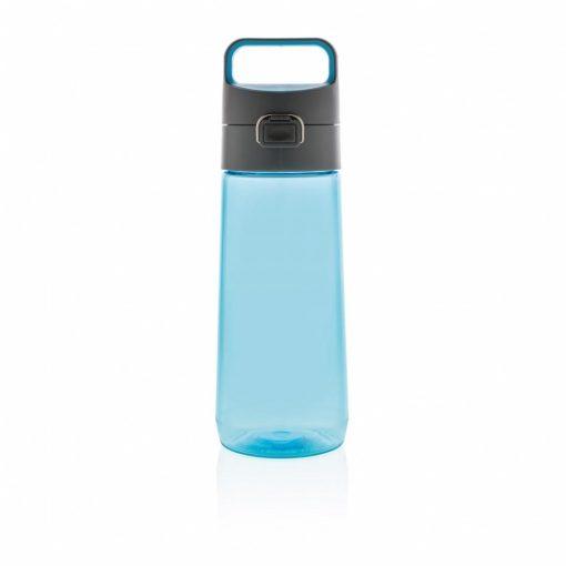 Sticla de apa 600 ml, cu maner, fara scurgeri, XD by AleXer, HE, tritan, pp, albastru, breloc inclus din piele ecologica