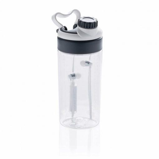 Sticla de apa 500 ml, fara scurgeri, cu casti in-ear wireless, Everestus, LF, tritan, abs, alb, saculet de calatorie inclus