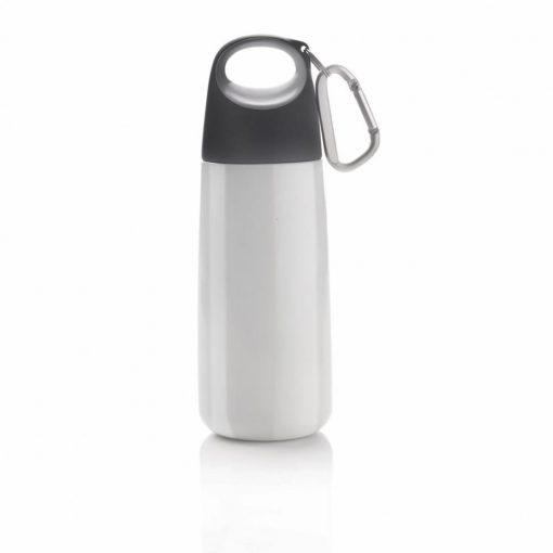 Sticla de apa 350 ml cu maner si carabina, XD by AleXer, BP, otel inoxidabil, pp, alb, breloc inclus din piele ecologica