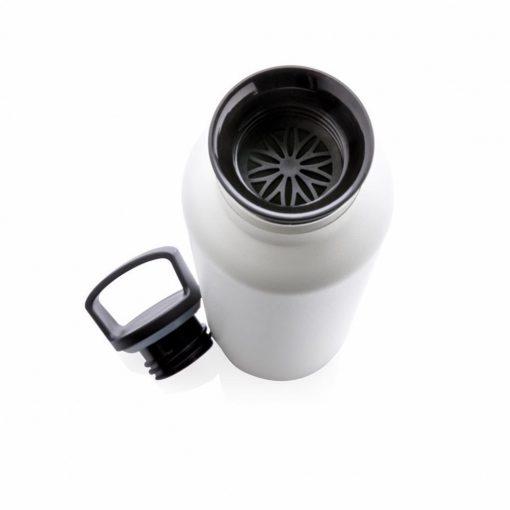 Sticla termoizolanta 600 ml, fara scurgeri, gura standard, Everestus, VM, otel inoxidabil, pp, alb, saculet de calatorie inclus