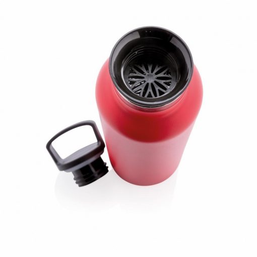 Sticla termoizolanta 600 ml, fara scurgeri, gura standard, Everestus, VM, otel inoxidabil, pp, rosu, saculet de calatorie inclus