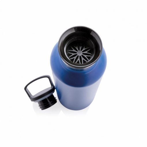 Sticla termoizolanta 600 ml, fara scurgeri, gura standard, Everestus, VM, otel inoxidabil, pp, albastru, saculet inclus
