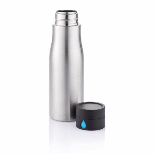 Sticla de apa 600 ml, capac care monitorizeaza consumul de apa, XD by AleXer, AA, otel inoxidabil, abs, gri, breloc inclus