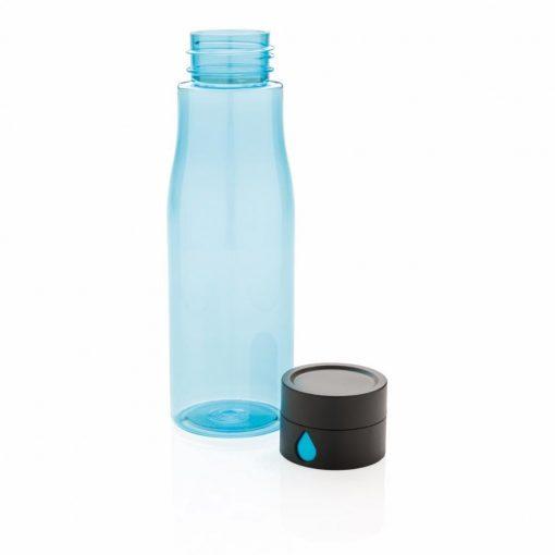Sticla de apa 600 ml, capac care monitorizeaza consumul de apa, XD by AleXer, AA, tritan, pp, albastru, breloc inclus