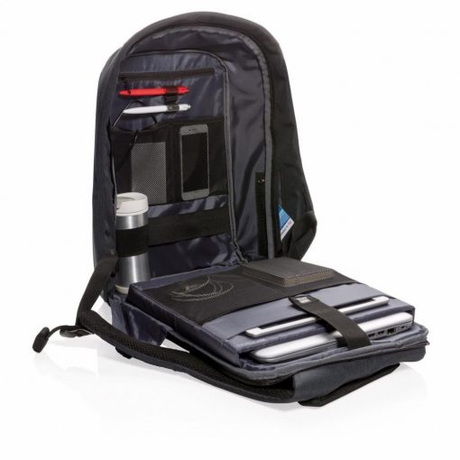 Rucsac antifurt, laptop 17 inch, buzunare ascunse pe exterior, XD by AleXer, BY, poliester, pvc, negru, breloc inclus