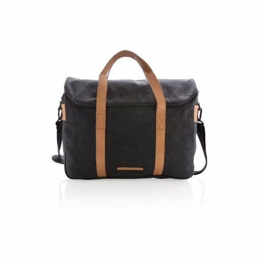 Geanta laptop bumbac 15.6 inch, pvc free, Everestus, CS, panza, pu, negru, saculet de calatorie si eticheta bagaj incluse