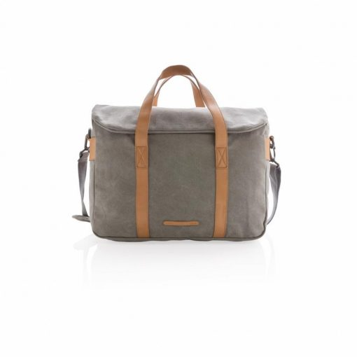 Geanta laptop bumbac 15.6 inch, pvc free, Everestus, CS, panza, pu, gri, saculet de calatorie si eticheta bagaj incluse
