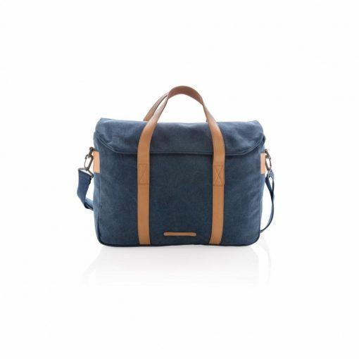 Geanta laptop bumbac 15.6 inch, pvc free, Everestus, CS, panza, pu, albastru, saculet de calatorie si eticheta bagaj incluse