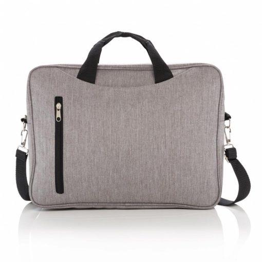 Geanta laptop 15 inch, Everestus, CC, poliester 600D, gri, saculet de calatorie si eticheta bagaj incluse