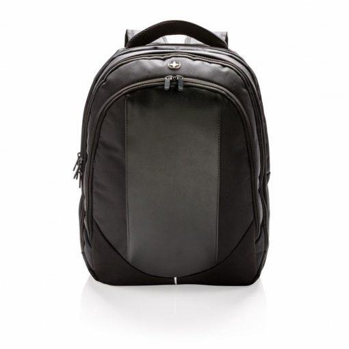 Rucsac Laptop captusit cu compartimete aditionale, Swiss Peak by AleXer, LP, poliester, pu, negru, breloc inclus