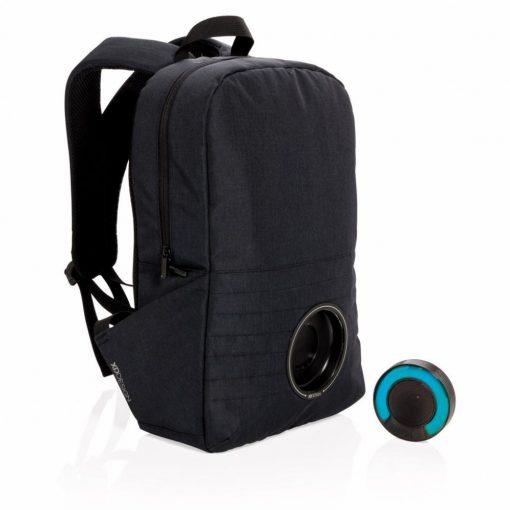 Rucsac Laptop 15 inch cu boxa wireless rezistenta la apa, XD by AleXer, PY, poliester, abs, negru, breloc inclus
