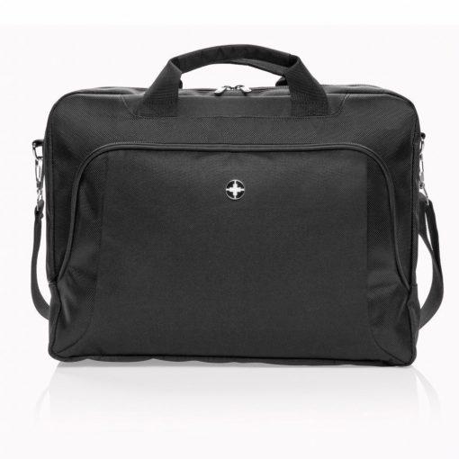 Geanta laptop 15 inch deluxe, Swiss Peak by AleXer, poliester, negru, breloc inclus din piele ecologica si metal
