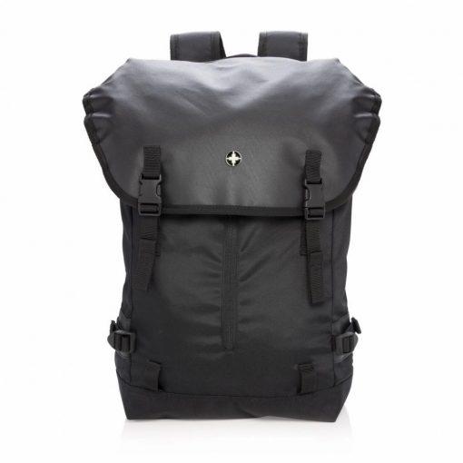 Rucsac Laptop 17 inch, usor si rezistent, Swiss Peak by AleXer, OR, poliester, negru, breloc inclus din piele ecologica si metal
