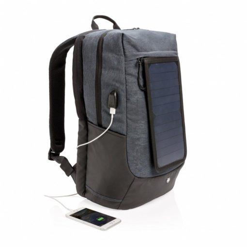 Rucsac Laptop 15.6 inch cu incarcator solar, Swiss Peak by AleXer, EE, poliester, negru, breloc inclus din piele ecologica