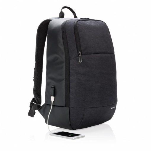 Rucsac Laptop 15 inch, port usb pentru incarcare, Swiss Peak by AleXer, MN, poliester, negru, breloc inclus din piele ecologica