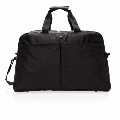 Geanta RFID, compartiment laptop 15.6 inch, 2 buzunare frontale, Swiss Peak by AleXer, RD, poliester, negru, breloc inclus
