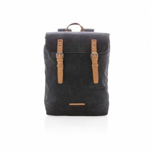 Rucsac Laptop 15.6 inch casual, din panza, pvc free, Everestus, CS, pu, negru, saculet de calatorie si eticheta bagaj incluse