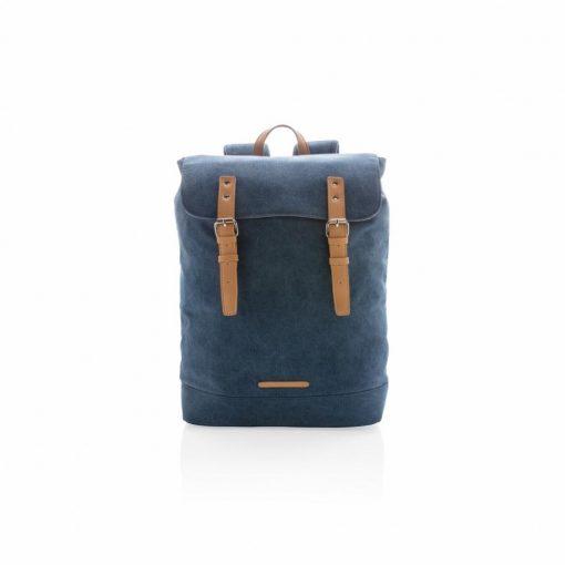 Rucsac Laptop 15.6 inch casual, din panza, pvc free, Everestus, CS, pu, albastru, saculet de calatorie si eticheta bagaj incluse