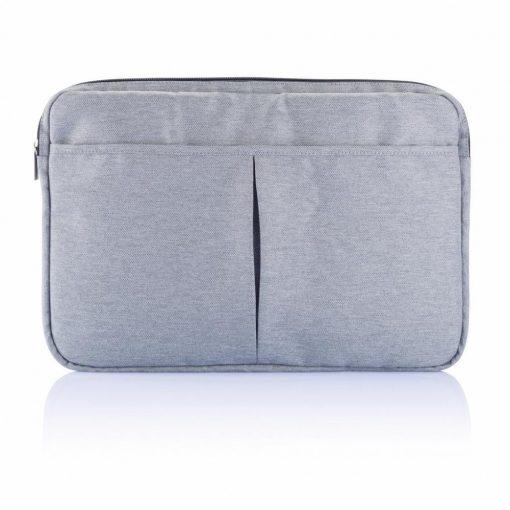 Geanta Laptop 15 inch, pvc free, Everestus, LP, poliester 600D, gri, saculet de calatorie si eticheta bagaj incluse